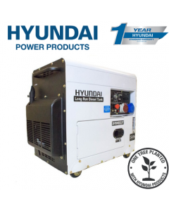 Hyundai DHY8000SELR-T 6kW Multi-phase - Single and 3-phase - Silenced Long Run Diesel Generator