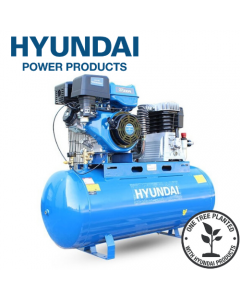 Hyundai HY140200PES Electric Start Petrol Air Compressor 29cfm, 14hp, 200L Litre Twin Cylinder Belt Drive