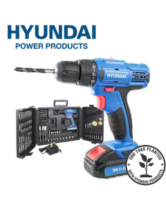 Hyundai HY2175 18v 1.5AH Li-Ion Cordless Drill with 89 Piece Drill Accessory Kit