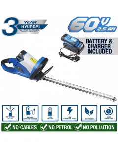 Hyundai Cordless Hedge Trimmer Charger HYHT60LI 60v Lithium-ion Battery, Blue 3 year warranty