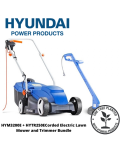 Hyundai HYM3200E+HYTR250E Corded Electric Lawn Mower and Trimmer Bundle