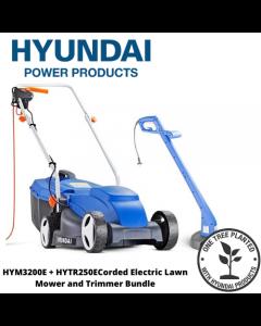 Hyundai HYM3200E+HYTR250E Corded Electric Lawn Mower and Trimmer Bundle