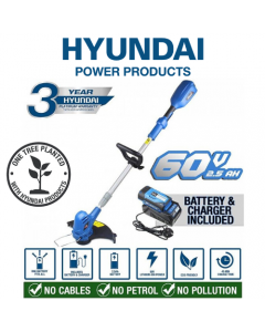 Hyundai Cordless Grass Trimmer with 60v Lithium-ion Battery & Charger HYTR60LI, Blue - 3 year Warranty