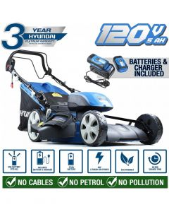 Hyundai HYM120LI510 120V Lithium Ion Cordless Battery Powered Self Propelled Lawn Mower With 2x Batteries & Charger