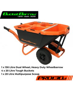 PRO130D Kit ( 1 Wheelbarrow 130L with dual wheel + 4 Buckets 20L + 1 Scoop 20L) - BucketBarrow