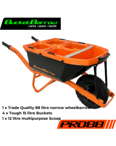 PRO88 Kit (1 wheelbarrow 88L+ 4 buckets 15L + 1 scoop 12L) - BucketBarrow