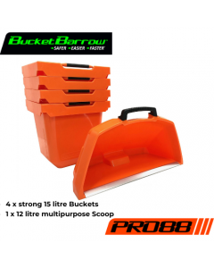 PRO88 4 Buckets 15L & 1 Scoop 12L Set (only) - BucketBarrow