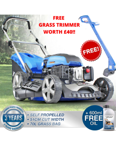 "Hyundai 20"" 51cm 510mm Lawn Mower Self Propelled 196cc Petrol Lawnmower HYM510SP"