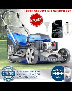 "Hyundai 20"" 51cm 510mm Lawn Mower Self Propelled 196cc Petrol Lawnmower HYM510SP- FREE ENGINE OIL CHANGE KIT WORTH £20 LIMITED STOCK"