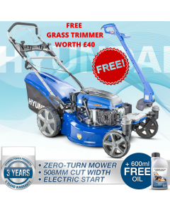 Hyundai HYM510SPEZ Petrol Lawn Mower Zero Turn Electric Start Self Propelled Lawnmower 196cc 51cm +  FREE GRASS TRIMMER WORTH £40
