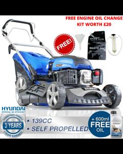 """HyundaI HYM460SP Petrol Self Propelled Mulching Lawnmower 139cc 18"""" 46cm 460mm Cut + FREE ENGINE OIL CHANGE KIT WORTH £20"""