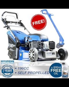 "Hyundai HYM530SPER Petrol Rear Roller Electric Start Self Propelled Lawnmower 21"" 53cm + FREE GRASS TRIMMER WORTH £40"