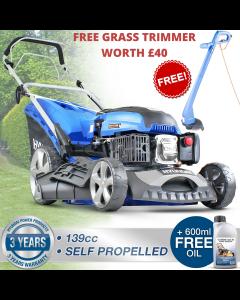 """Hyundai HYM460SP Petrol Lawn Mower Self Propelled Mulching Lawnmower 139cc 18"""" 46cm 460mm Cut + FREE GRASS TRIMMER WORTH £40"""