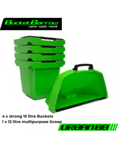 Urban88 4 Bucket 15L & 1 Scoop 12L Set (only) - BucketBarrow